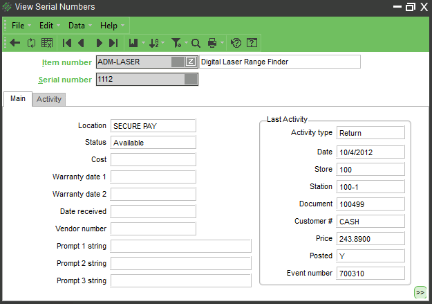 NCR Serial Number Tracking Screen