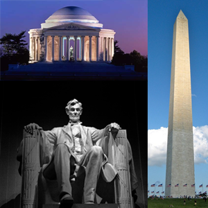 National Monuments: The Jefferson Memorial, Lincoln Memorial, and Washington Monument